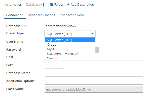 Dell Boomi database driver configuration