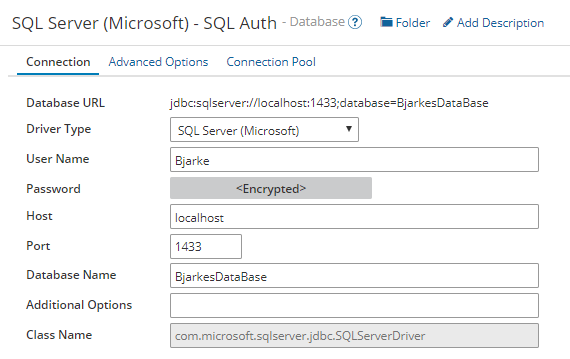 Example config of MS SQL driver with SQL Authentication