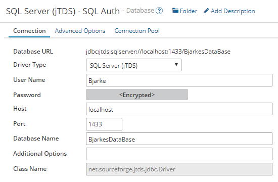 Example config of jTDS driver with SQL Authentication