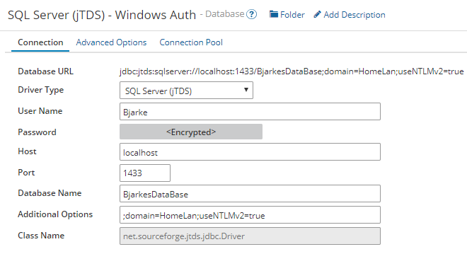 Example config of jTDS driver with Windows Authentication